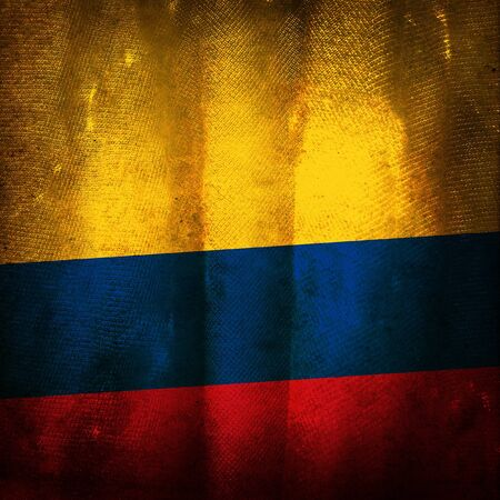 Old grunge flag of Colombia photo