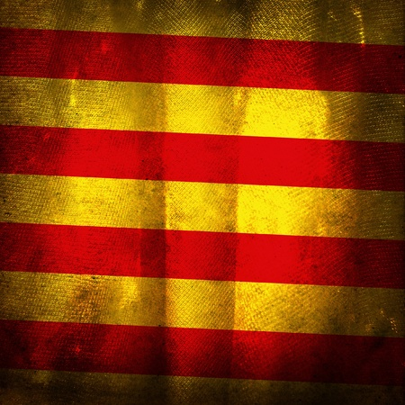catalonia: Old grunge flag of Catalonia