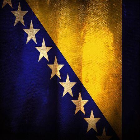bosnian: Old grunge flag of Bosnia and herzegovina