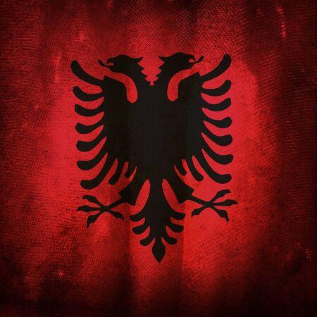 albania: Old grunge flag of Albania Stock Photo