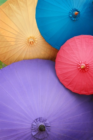 Traditional Asian paper umbrellas photo