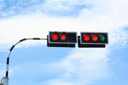 Traffic signal and blue sky photo
