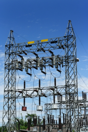 electricity substation: High voltage and blue sky