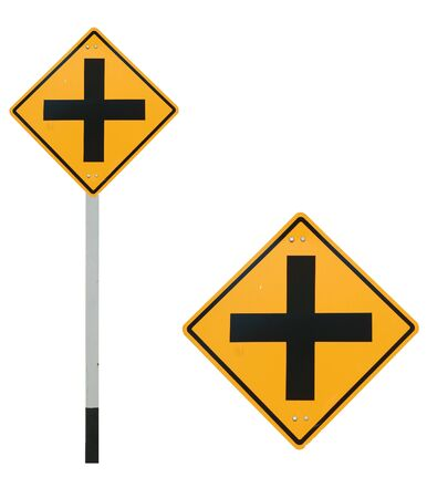heed: 4 intersection traffic sign Stock Photo