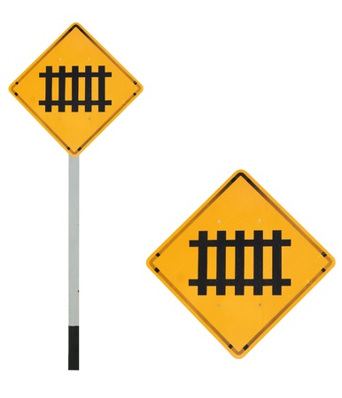 railway engine: train ahead traffic sign Stock Photo
