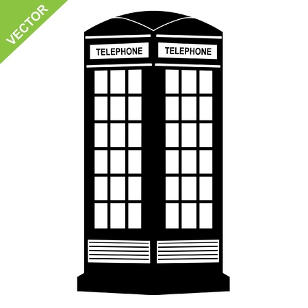 The silhouette of a telephone booth, illustration Vector