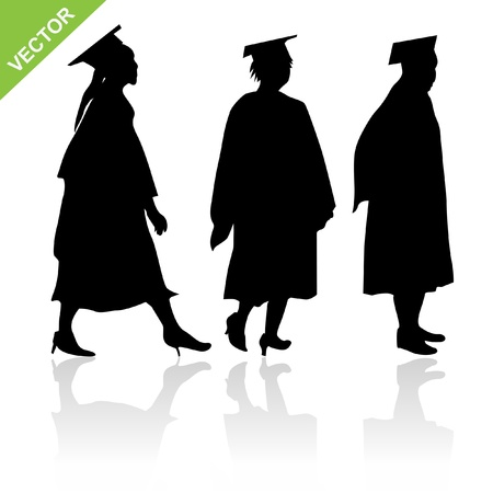 The womens graduate silhouettes. Stock Illustratie