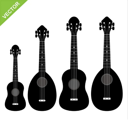 Set of silhouettes ukulele Vector