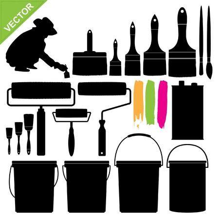 cepillo: Juego de bote de pintura y pincel vector silueta Vectores