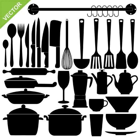 pans: Set of kitchen tools silhouettes Illustration