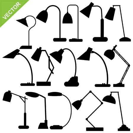 Set of desk lamp silhouettes Stock Vector - 14790802