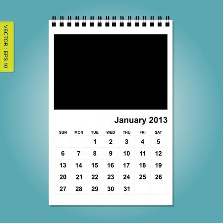 2013 Calendar vector, January Vector