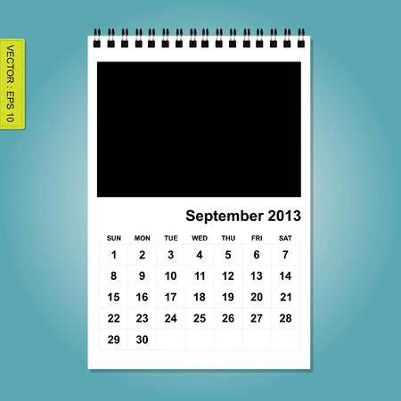 forcast: 2013 Calendar vector, September