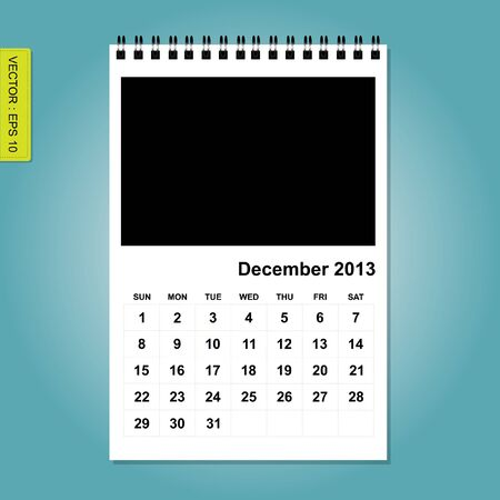 forcast: 2013 Calendar vector, December Illustration