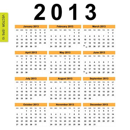 forcast: 2013 Calendar vector Illustration