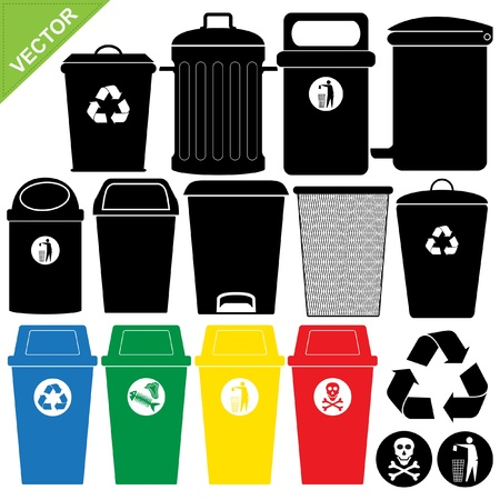 rubbish bin: Bin silhouettes vector Illustration