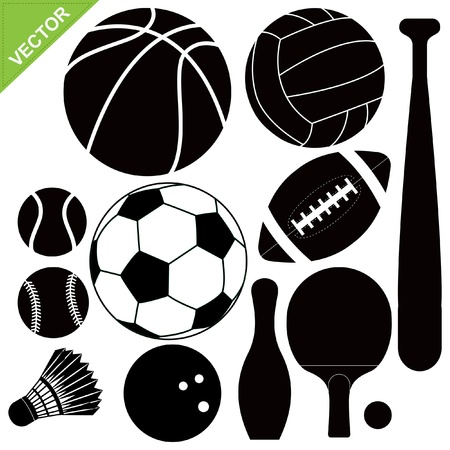 baseball game: Sport equipment silhouettes vector
