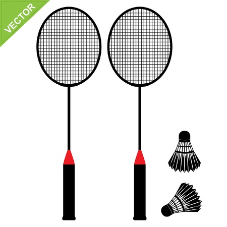 Badminton silhouetten vector Stock Illustratie