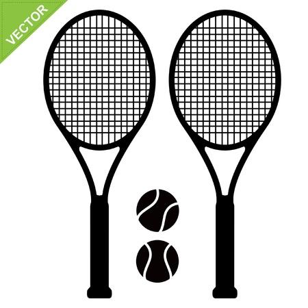 húros: Teniszütőt sziluettek vektor