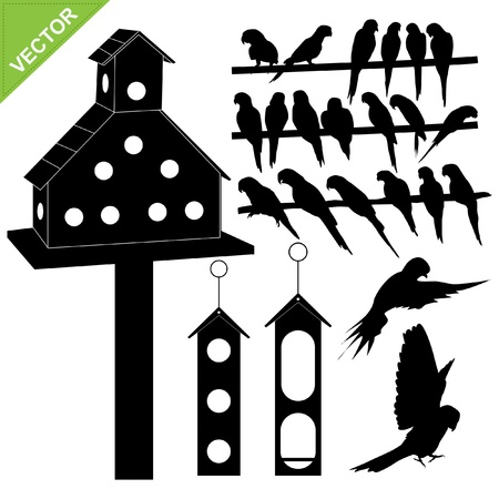 parrot flying: Birds silhouettes collections