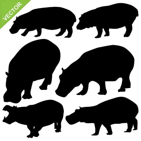 Hippopotamus silhouettes vector collections Stock Vector - 15221944