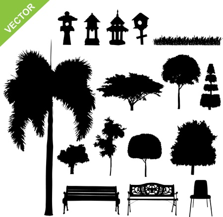 garden chair: set of silhouette tree and garden  Illustration