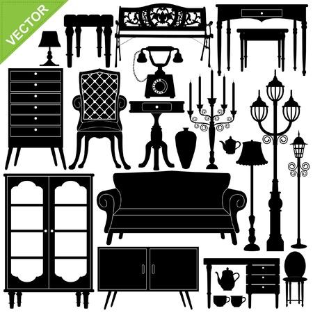 muebles antiguos: Conjunto de siluetas de muebles antiguos Vectores