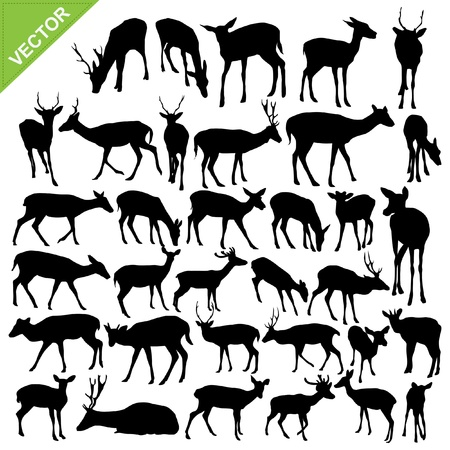 Deer silhouettes collections Vectores