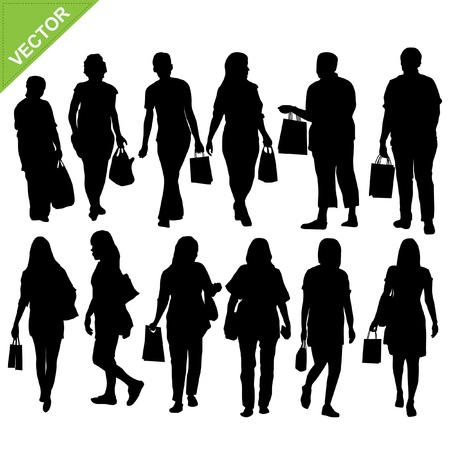 woman shopping silhouette Stock Vector - 17376827