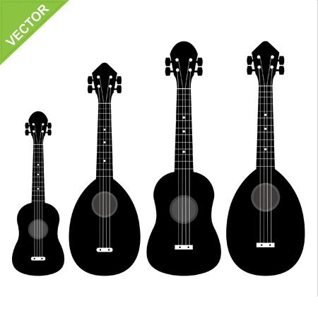 acoustical: Set of silhouettes ukulele