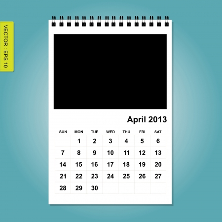 April 2013 calendar vector Stock Vector - 17376897
