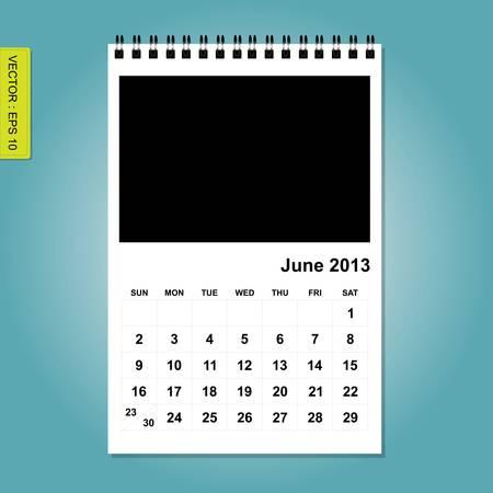 June 2013 calendar vector Stock Vector - 17376909