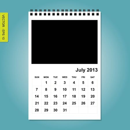 July 2013 calendar vector Stock Vector - 17376860