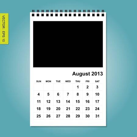 agosto: Agosto 2013 vettore calendario