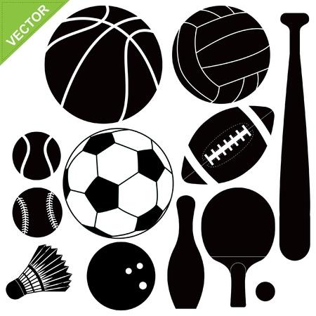 Sport equipment silhouettes vector