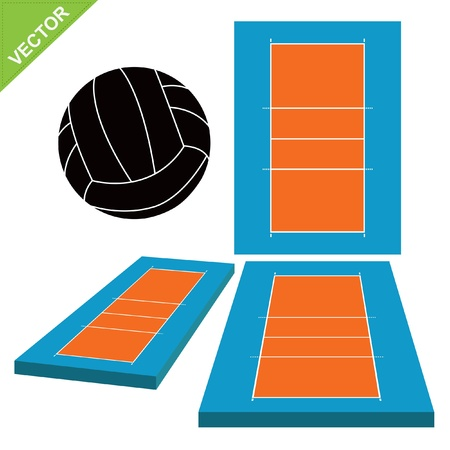 Volleyball and court  Vector