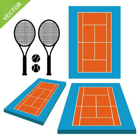 Tennis courts and tennis ball vector Stock Vector - 17372721