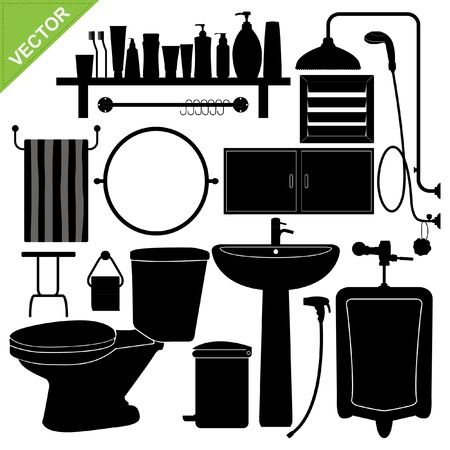 Bathroom silhouette collections Vector