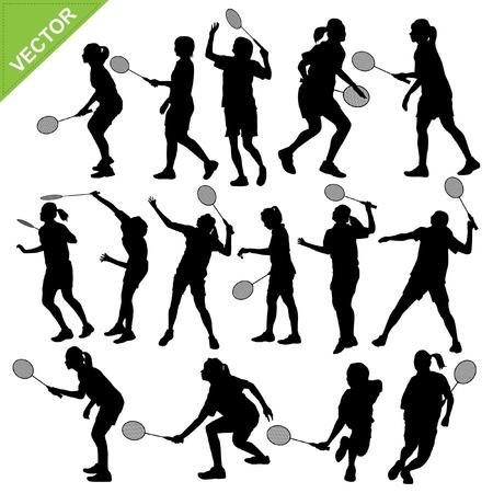 Women silhouettes play Badminton vector Vectores