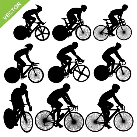 bicycle race: Cycling silhouettes vector