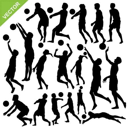 Men beach volleyball silhouettes vector Stock Vector - 17372729