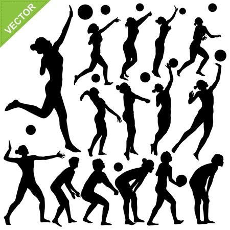 pelota de voleibol: Las mujeres de voleibol de playa siluetas vector Vectores