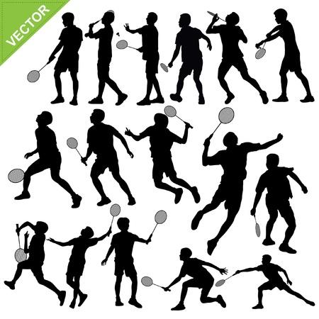 Men silhouettes play Badminton