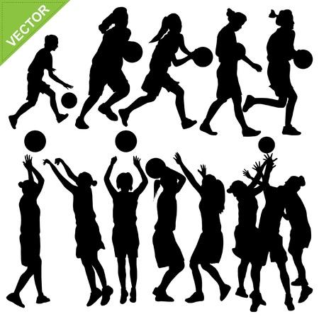 baloncesto chica: Las mujeres juegan las siluetas de baloncesto Vectores