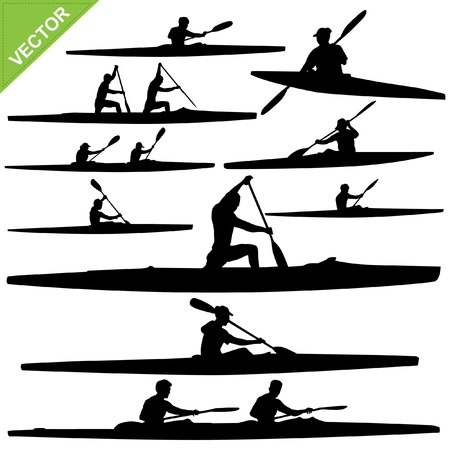thai women: Kayaking silhouettes   Illustration