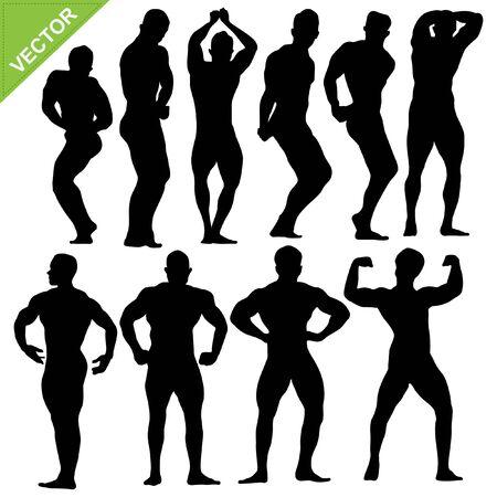 Bodybuilding silhouettes Stock Vector - 17699660
