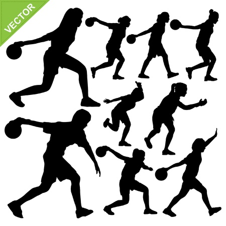 Women palying bowling silhouettes Vector