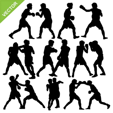 Boxing silhouettes Stock Vector - 17699651