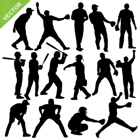 Cricket player silhouettes   Stock Vector - 17699644