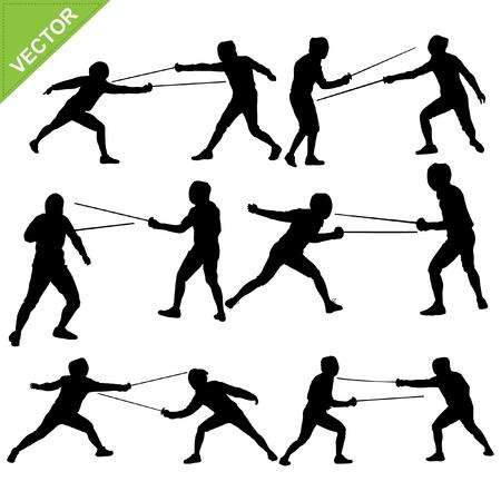 fencing: Fencing silhouettes vector